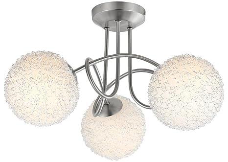 Decken Lampe Wohnzimmer Leuchte Kugel Nickel Alugeflecht Globo 63171 3 Mitis