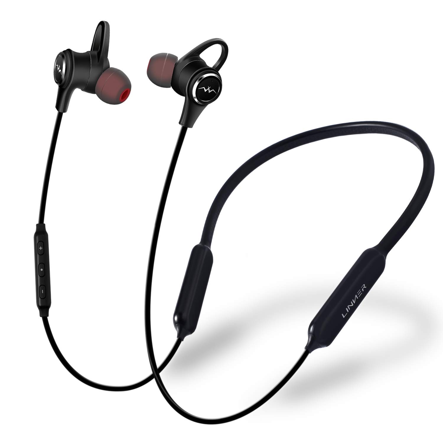 60a6145ec45 LINNER Active Noise Cancelling Headphones Earbuds, Wireless Bluetooth  Earbuds Extra Bass, Noise Cancelling Earphones with Microphone and Remote  (13 Hours ...