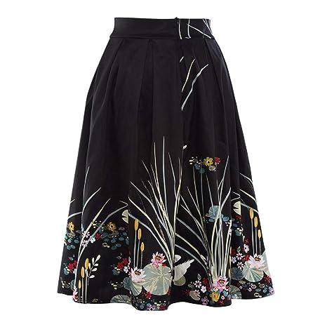 Falda Vintage Acampanada Estampada de Verano para Mujer ...