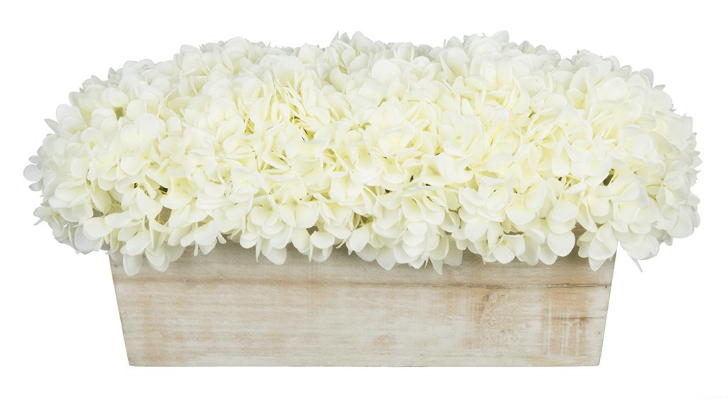 House of Silk Flowers Artificial Hydrangeas in White-Washed Wood Ledge (White)