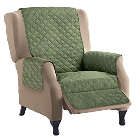 Captivating Reversible Quilted Furniture Protector Cover, Chocolate/Tan, Olive/Sage,  Recliner