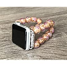 Murano Glass Stones Bracelet For Apple Watch Series 1 2 & 3 (42mm) Handmade Tropical Coral Color Venice Glass Rose Design Beads Apple Watch Band Luxury Jewelry Adjustable 5 inches Size Wristband