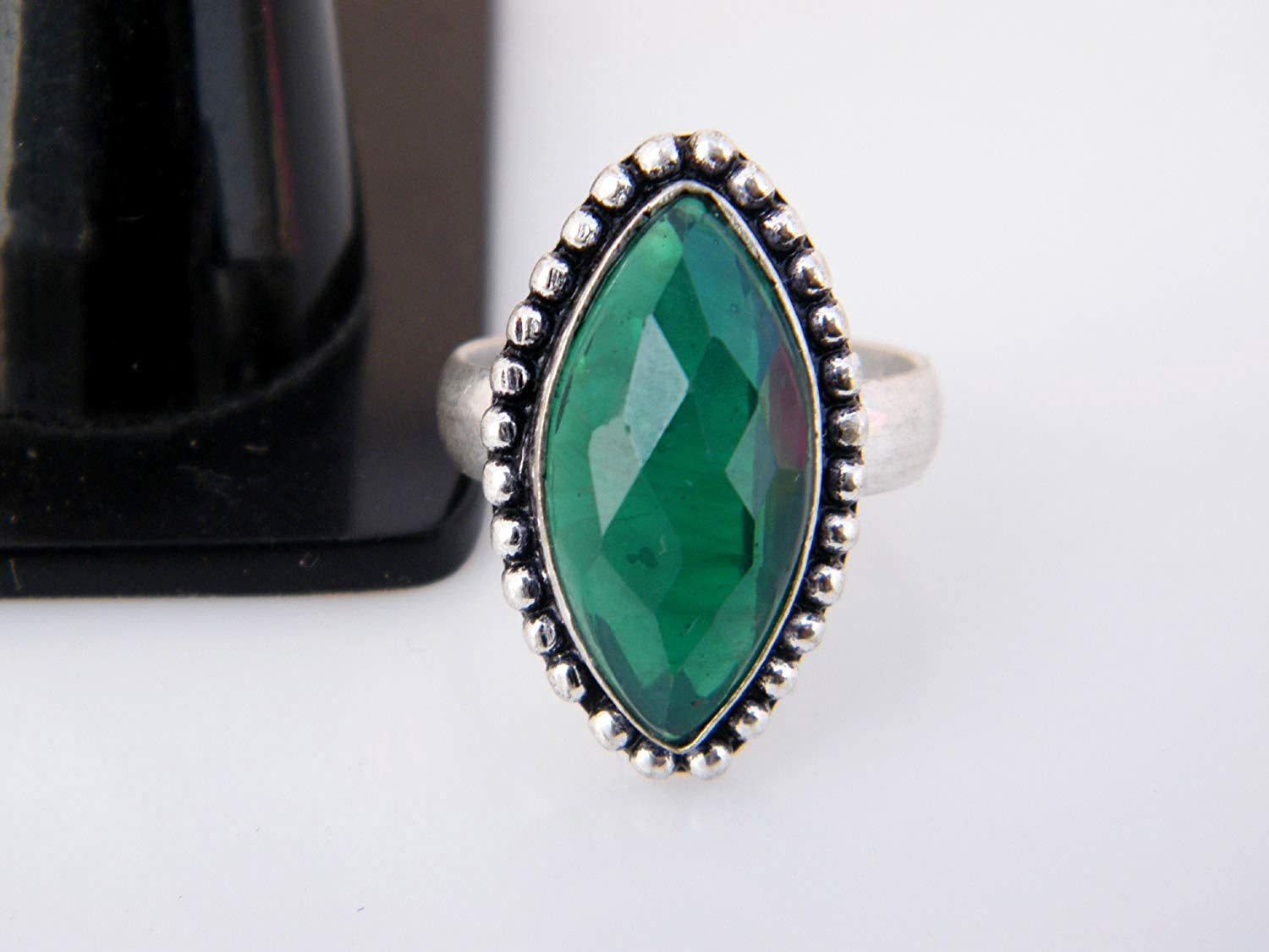 Size- 8 USA BRS-2635 Handmade Ring Thebestjewellery Green Onyx Ring Adjustable Ring Silver Plated Ring Women Jewelry