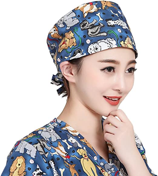 SongXin Womens Surgical Scrub Cap Animal Print Medical Doctor Bouffant Hat