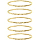 Reoxvo 18K Gold Plated Stainless Steel Gold Beaded Ball Bracelets for Women Stackable Stretch Elastic Bracelet