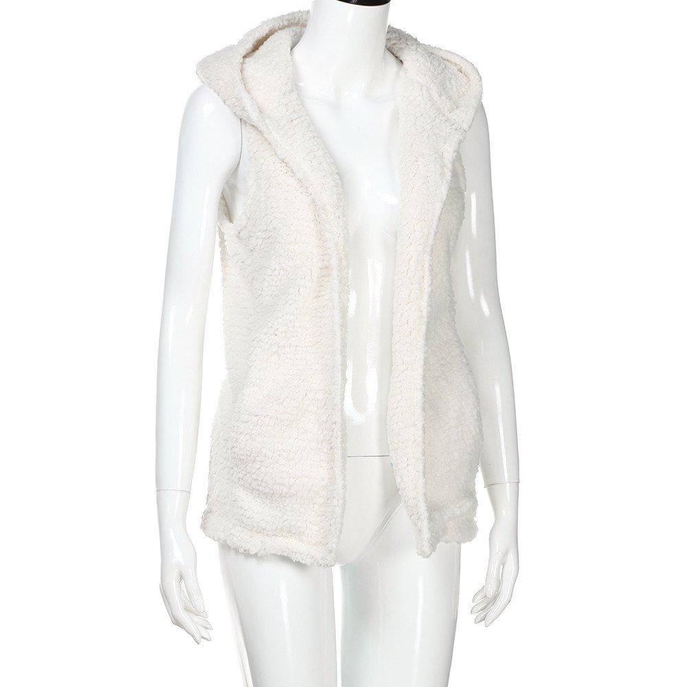 Zalanala Womens Vest Jacket Winter Warm Hoodie Outwear Casual Sherpa Coat Faux Fur Zip Up