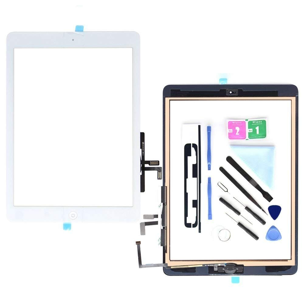 iPad Air 1th Generation iPad 5 A1474 Touch Screen Digitizer Replacement,Front Panel Glass Assembly White-Includes Home Button,Camera Holder and Pre-Installed Adhesive with Repair Tools Kit