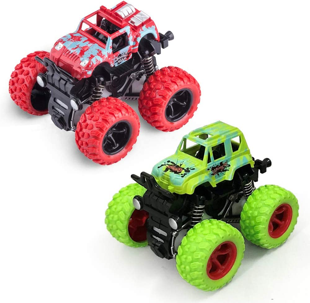 Amazon Com Monster Trucks Toys Monster Trucks Inertia Car Toys Friction Powered Cars For Kids 2 Pack Red And Green Toys Games