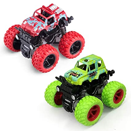 Monster Trucks Toys, Monster Trucks Inertia Car Toys Friction Powered Cars  for Kids -2 pack (Red and Green)