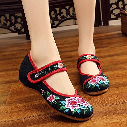 De Red Zapatos Estilo Black Casual Étnico Tendón Bordado Moda Mujeres Zapatos Cómodo Gamuza En Aumento El Mn Suela Edge wIx0TXnqq