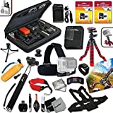 "Xtech Accessory Kit for GoPro HERO2 Hero 2 Digital Camera Includes Head Strap Mount, Chest Strap Mount, 12"" inch Highly Flexible Tripod, 16GB High Speed Memory Card + High Capacity AHDBT-302 Battery, AC/DC Quick Charger, Custom Large size Case, Floating"