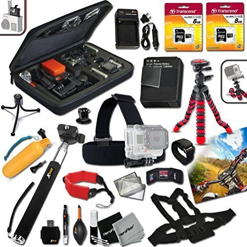 "Xtech Premium Accessory Kit for GoPro HERO4 Hero 4 Digital Camera Includes Head Strap Mount, Chest Strap Mount, 12"" inch Highly Flexible Tripod, 16GB High Speed Memory Card + High Capacity AHDBT-401 Battery, Quick Dual Charger, Custom Large size Case, F by Xtech"
