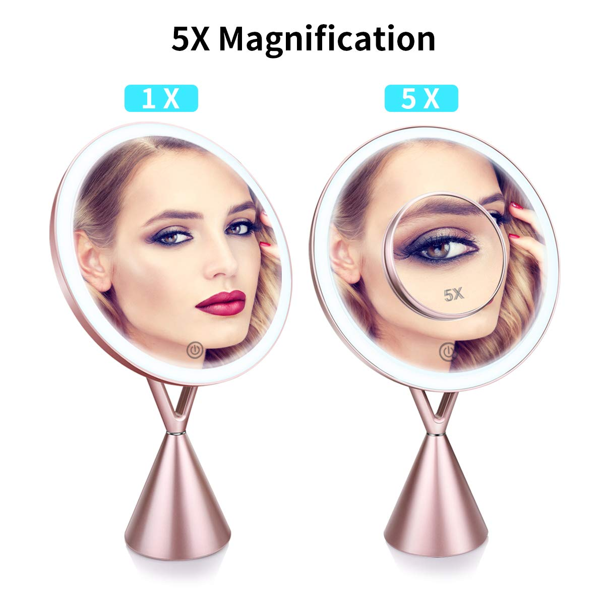 Lighted Makeup Mirror, Rechargeable 8.3 Inch Vanity 1X/5X Magnifying Mirror, 3 Color Modes Dimmable with Touch Screen (Rose Gold)