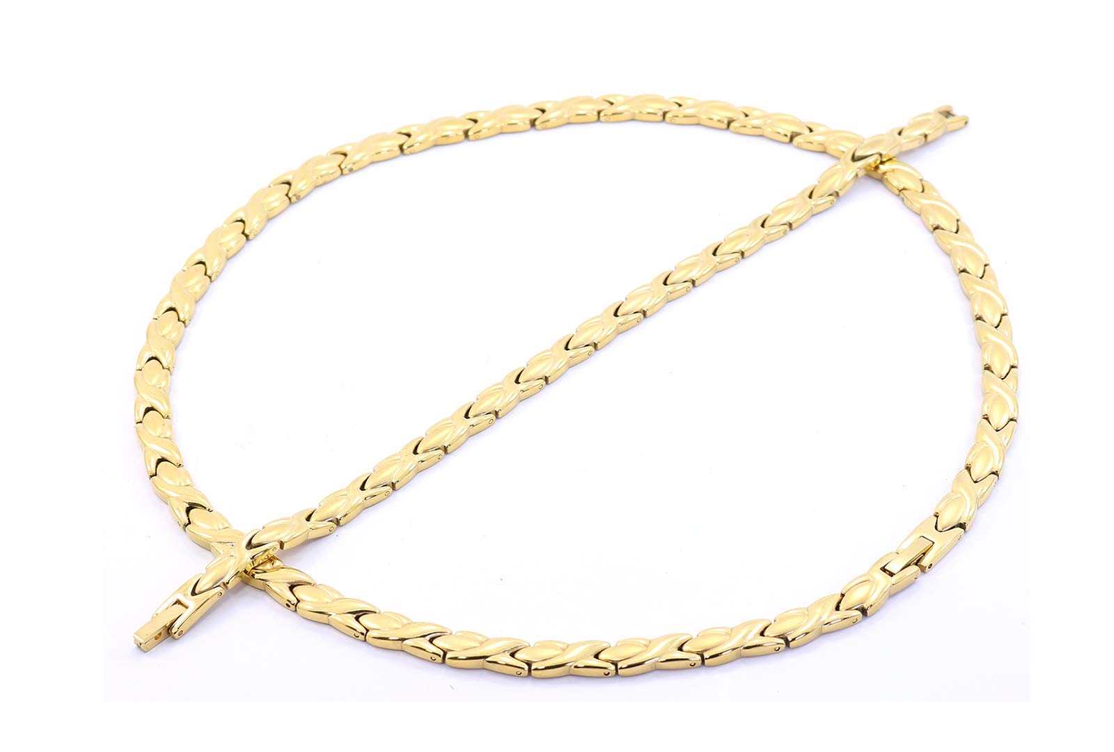 Hugs and Kisses Stainless Steel Stampato Necklace and Bracelet Set Gold Tone 20'' Length