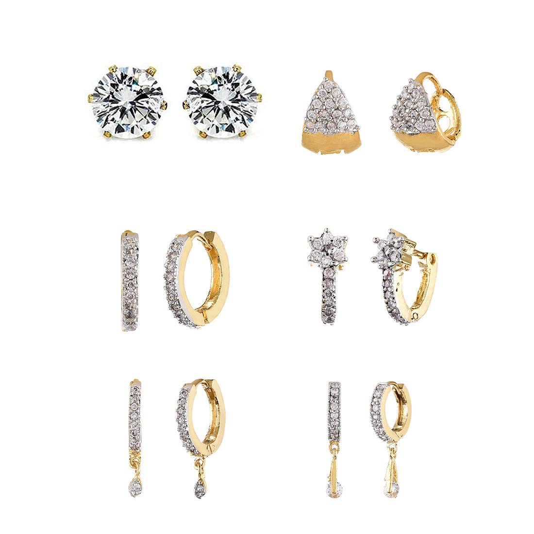 Zeneme Combo of Trendy American Diamond Earrings Jewellery