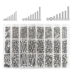 304 Stainless Steel Screws Nuts and Washers 1200PCS, Sutemribor M2 M3 M4 Hex Socket Head Cap Bolts Screws Nuts Washers Assortment Kit with Hex Wrenches (Color: Silver, Tamaño: M2 M3 M4)