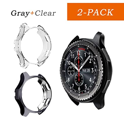 Cuteey Case for Samsung Gear S3 Frontier SM-R760,TPU Scractch-Resist Shock-Proof All-Around Protective Bumper Shell Protective Galaxy Watch SM-R800 ...