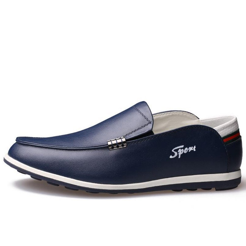 AFCITY Lederschuhe der Herbst Hilfe Männer Flat Bottomed Niedrige Hilfe Herbst Schuhe Klassischer Stiefelschuh Blau b00010