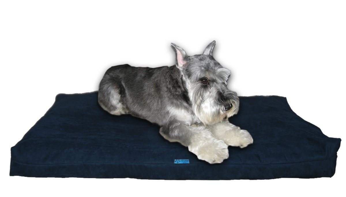 Navy Microfiber Medium 37\ Navy Microfiber Medium 37\ Five Diamond Collection Shredded Memory Foam Orthopedic Bed with Removable Washable Cover and Water Proof Inner Fabric, Medium (37-Inch-by-27-Inch), Navy Microfiber, for Dogs