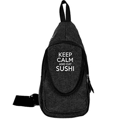 well-wreapped Keep Calm And EAT Sushi Fashion Men's Bosom Bag Cross Body New Style Men Canvas Chest Bags