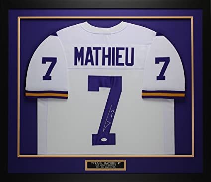 separation shoes 382c3 6bc85 Tyrann Mathieu Autographed White LSU Jersey - Beautifully ...