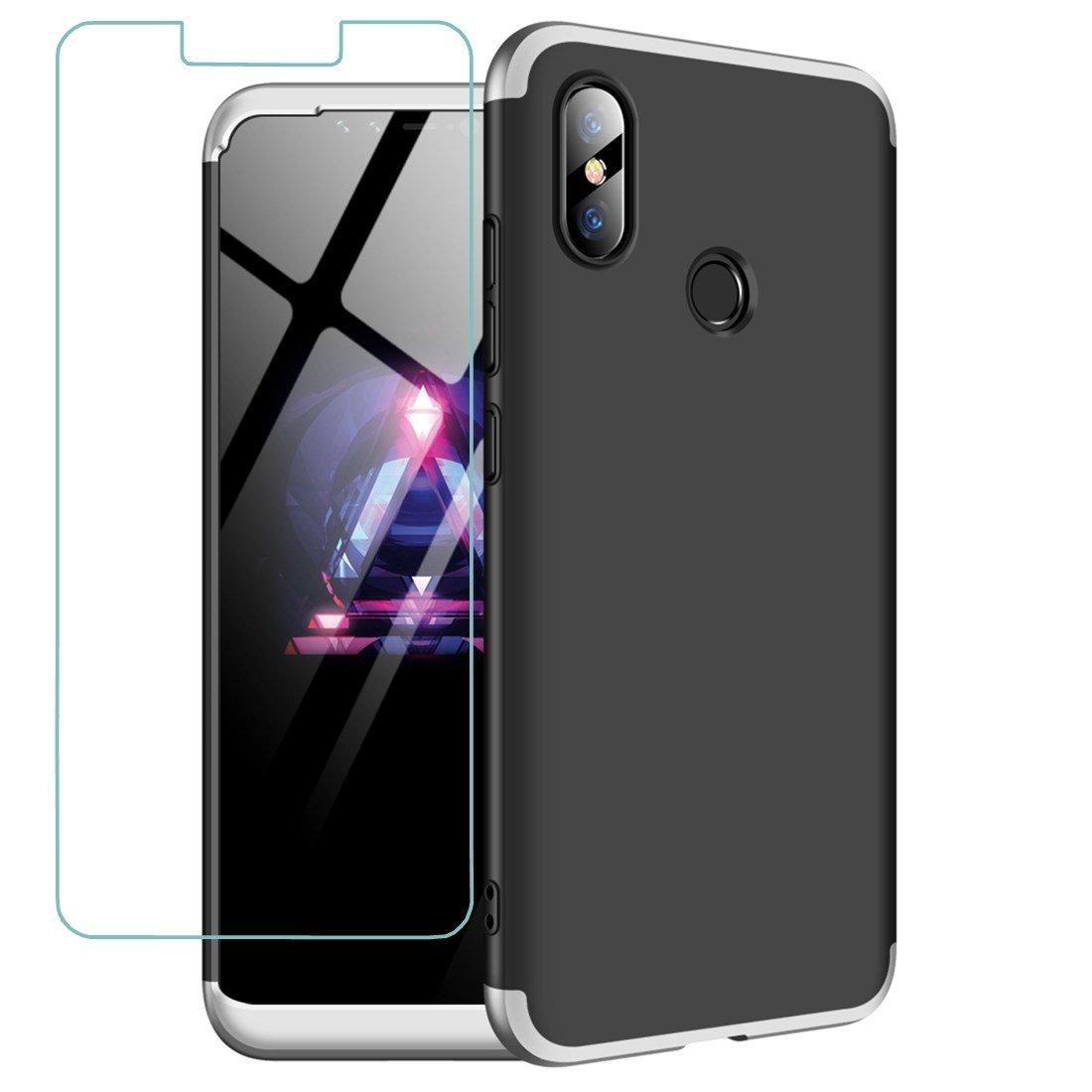 JOYTAG compatibles para Funda Xiaomi Mi 8 SE Plata Negro 360 Grados Caja 3 en 1 PC Case + Protectora de película de Vidrio Templado-Plata Negro