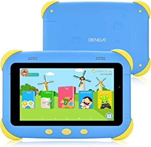 Beneve Kids Tablet 7 inch IPS HD Display Android Tablet for Kids Toddler Tablet Kids Edition Tablet with WiFi Dual Camera Childrens Tablet 2GB + 16GB Parental Control,Google Play Store (Yellow+Blue)