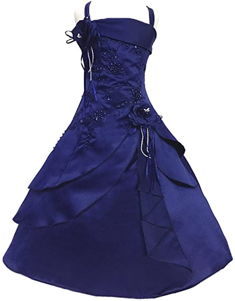 Shiny Toddler Vestido de Fiesta para Chicas 6 a 7 Azul Marino