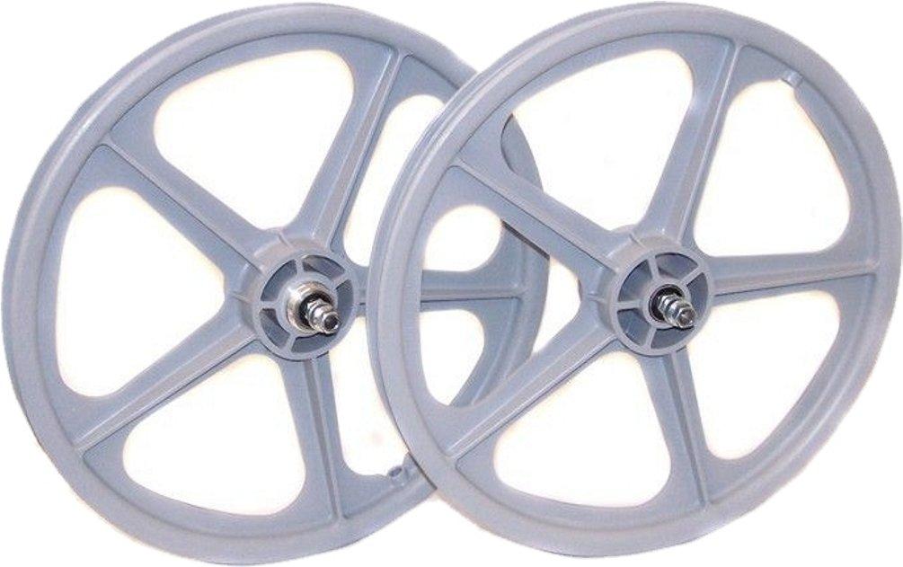 Skyway, Tuff II 20'' 5 Spoke, Wheelset, White, 20'' / 406, Bolt-on, F: 100, R: 110, Rim, Freewheel by Skyway