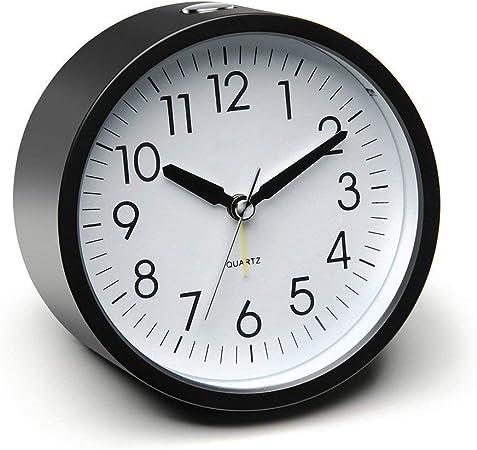 /à Pile Puissant Horloge de Table avec Fonction Somme Eachui R/éveil /à Quartz 10cm Alarme Analogique avec Lumi/ère Alarme Montante Silencieux sans Tic-tac