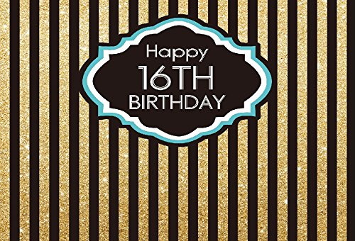 Yeele 5x3ft Boy 16th Birthday Party Backdrop Gold and Black Vertical Stripes Decoration Banner Home Photography Background Teenagers Students boy Portraits Photo Booth Shoot Props