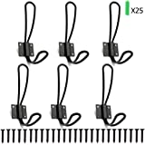 Rustic Farmhouse Entryway Hooks 6 Pack Decorative Vintage Hangers Wall Mounted Hard Antique Industrial Heavy Duty Hook Set Double Farmhouse Utility Hook Set Best for Clothes Hanger (Black)