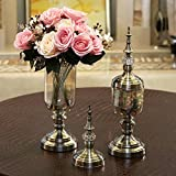 Jhxena European Style Home Decor Creative Glass Vase Artificial Flower Roses, Pink