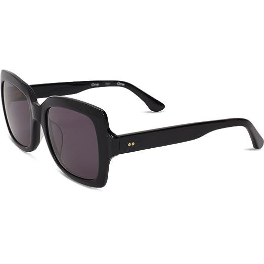 e98e3f28c197 TOMS 10009614 Women's Shiny Black Frame Dark Grey Lens Square Sunglasses