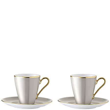 LSA International Sorbet Coffee Cup and Saucer 0.1L x 2, Licorice ...