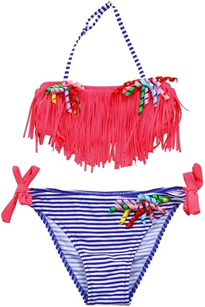 Vincent/&July Infant Toddler Girls Red Tassel Swimwear Swimsuit Top+Blue Stripe Bikini Shorts Outfits