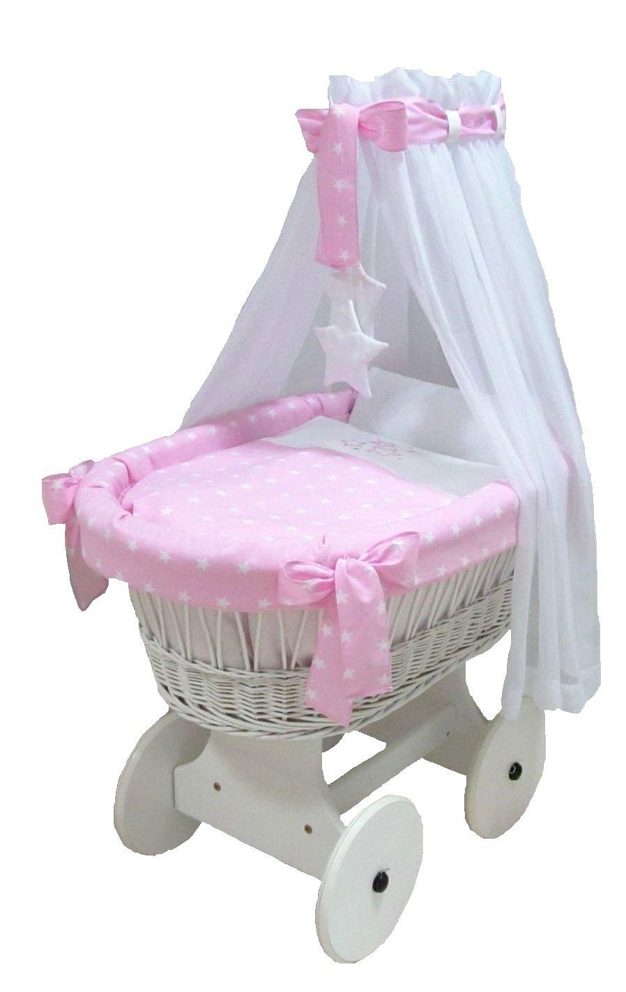 Babymajawelt® Berceau Complet Set STARS/étoiles 10 parties, une literie bassinet (rose)