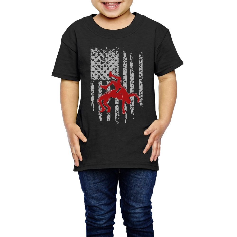Aiguan Wrestling American Flag Toddler Short Sleeve T-Shirt Cozy Top for Little Boy & Girl Black 5-6 Toddler