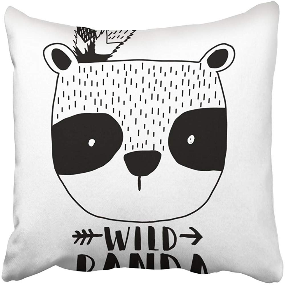 Throw Pillow Cover Square 18x18 Inches Black Bear Panda White Cute Happy Animal Baby Beautiful Beauty Cartoon Polyester Decor Hidden Zipper Print On Pillowcases