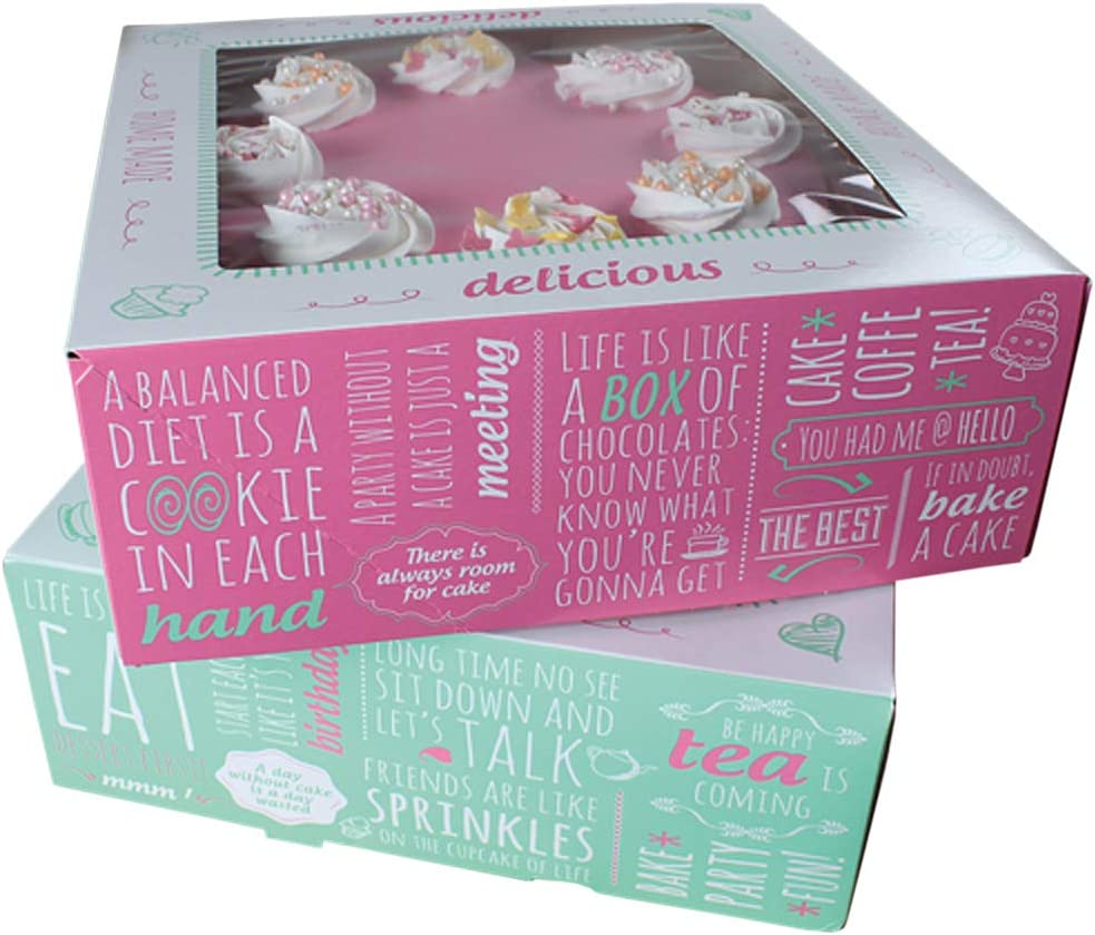 21 x 21 x 9cm FUNCAKES Cake Box/ Cartone /Torta scatola//Cup acket rans Port Box /Quotes/