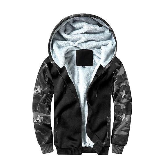 Manluodanni Homme Hiver Chaud Sweats Épaisse Veste à Capuche Doublée Polaire Manteaux Doux Hoodie Blousons Sweat Shirts Manches Longues en Polyeste et