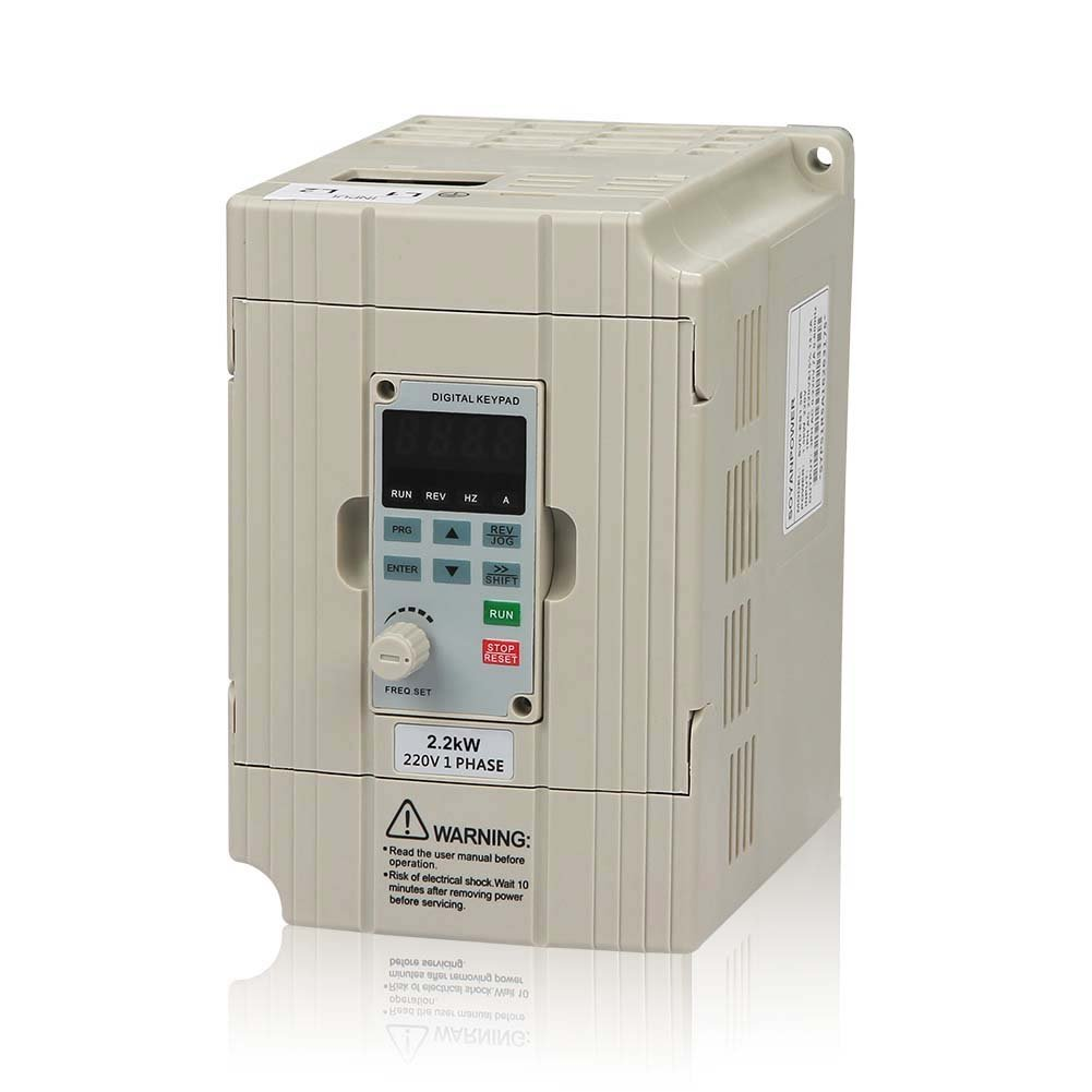 LAPOND VFD Drive VFD Inverter Professional Variable Frequency Drive 2.2KW 3HP 220V 10A for Spindle Motor Speed Control (VFD-2.2KW)