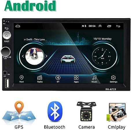 Android Coche Radio 2 DIN GPS CAMECHO 7 Pulgadas Pantalla táctil capacitiva Bluetooth WiFi USB SD AUX FM Reproductor de automóvil Estéreo Enlace de Espejo + Cámara Trasera: Amazon.es: Electrónica