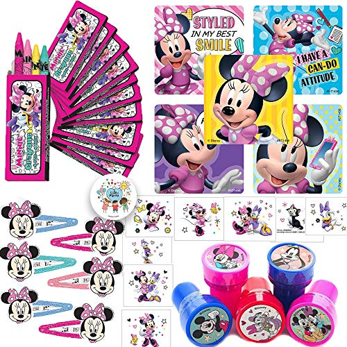 Minnie Mouse Happy Helpers Birthday Party Favors Pack and Goodie Bag Fillers For 12 Guests With Stickers, Tattoos, Hair Clips, Stampers, Crayons and Exclusive Pin By Another Dream