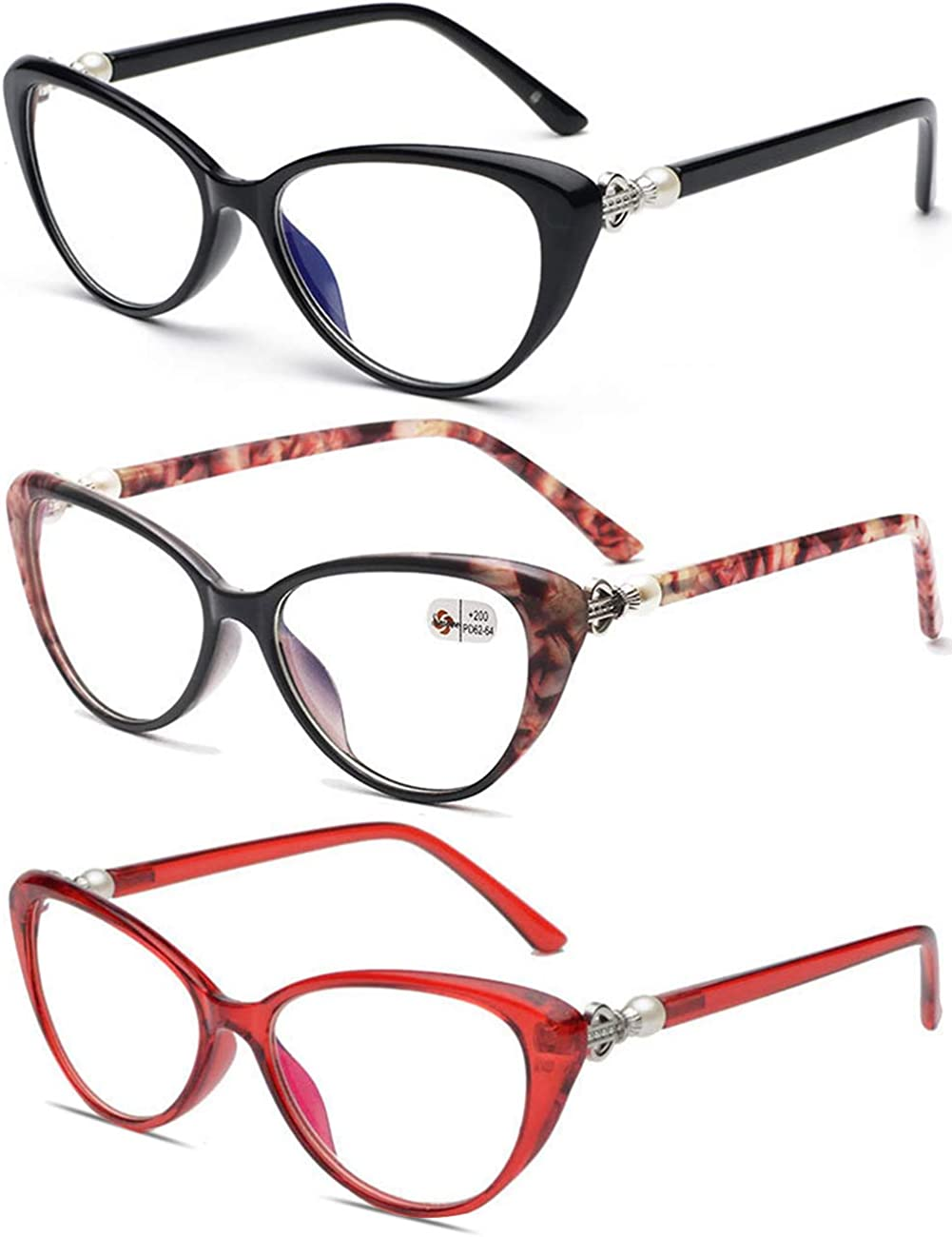 VEVESMUNDO Cateye Reading Glasses Ladies Women Men Anti Fatigue Retro Eyeglasses