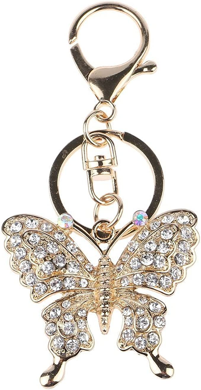 Gorgeous Rhinestone  Butterfly Keychain Purse Charm USA Seller Christmas Gift