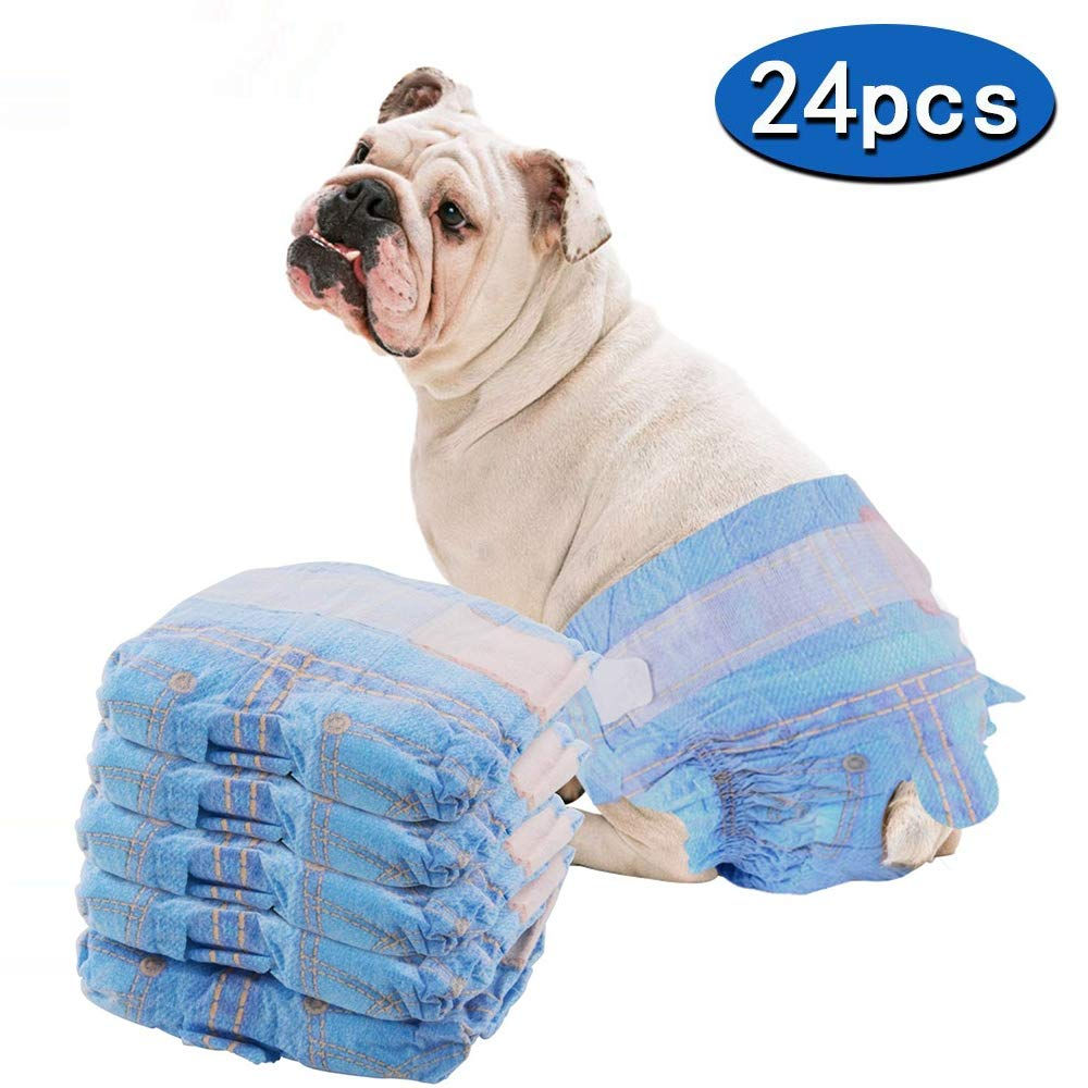 Disposable Dog Diapers, Super Absorbent Leak-Proof Fit, 24 Pieces pet Diapers, Waist Circumference (13.4 inches to 21.3 inches)
