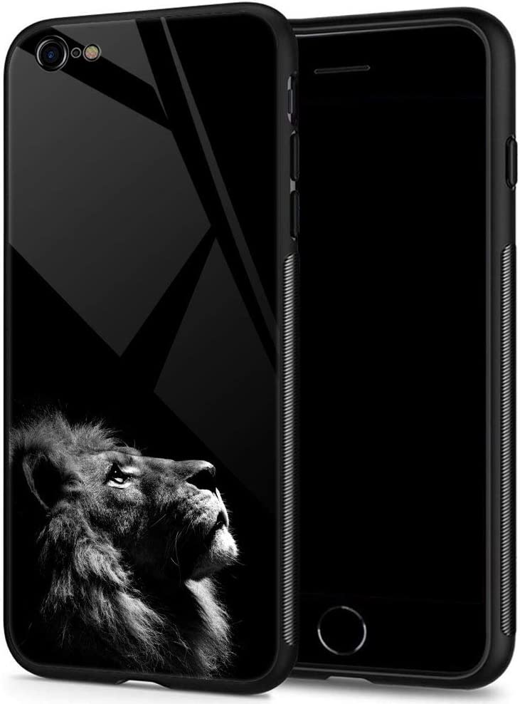 iPhone 6 Plus Cases for Boys Mens, Lions Looking up at The Night Sky Tempered Glass iPhone 6s Plus Case Pattern Mobile Phone Shell Black Cover Case for iPhone 6/6s Plus Lions Looking up at Sky