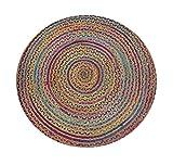 Chardin home Rainbow Multi Chindi and Natural Hemp Braid Rug, 4' Round
