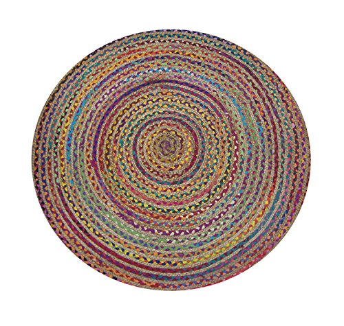 Natural Hemp Rug - Chardin home Rainbow Multi Chindi and Natural Hemp Braid Rug, 4' Round